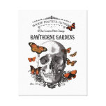 modern vintage Halloween skull and butterflies Canvas Print