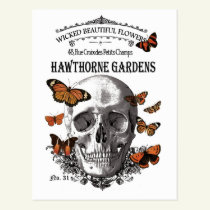 modern vintage Halloween skull and butterflies Postcard