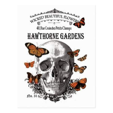 Halloween Themed modern vintage Halloween skull and butterflies Postcard