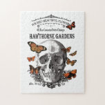 modern vintage Halloween skull and butterflies Puzzle