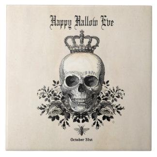 Modern Vintage Halloween skull and crown Tile