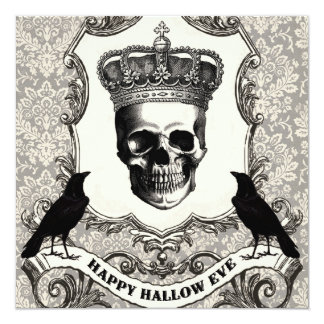 Modern Vintage Halloween skull 5.25x5.25 Square Paper Invitation Card