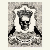 Modern Vintage Halloween skull Postcard