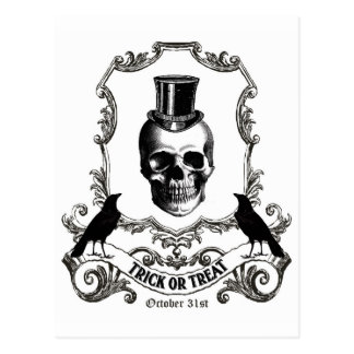 modern vintage halloween skull postcard - Halloween Skull