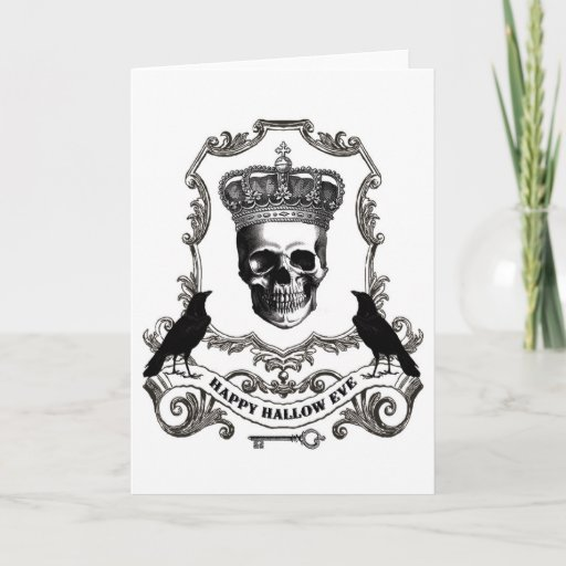 Modern vintage Halloween skull with crown Card