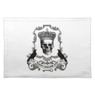 Modern vintage Halloween skull with crown Cloth Placemat