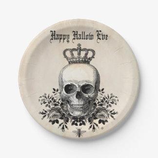Modern Vintage Halloween skull with crown Paper Plate
