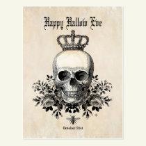 Modern Vintage Halloween skull with crown Postcard