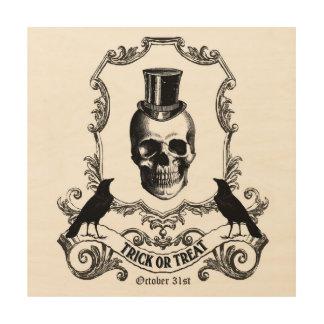 Modern Vintage Halloween skull Wood Print