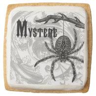 modern vintage halloween tarantula square sugar cookie