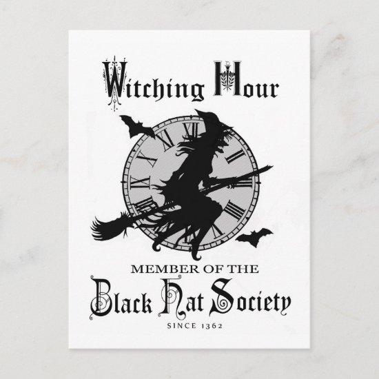 Modern Vintage Halloween witch Holiday Postcard