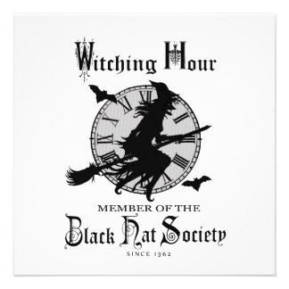 Modern Vintage Halloween witch Personalized Invites
