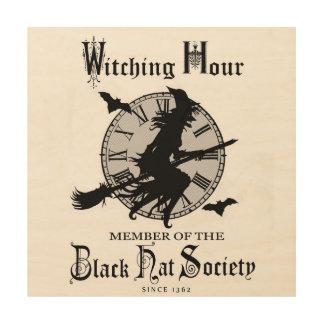 Modern Vintage Halloween witch Wood Print