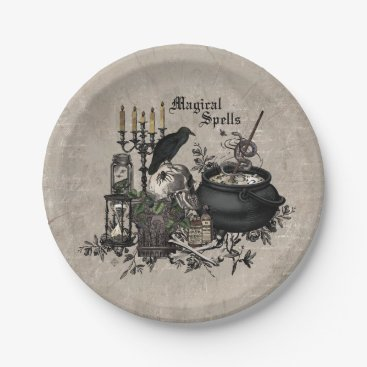 Halloween Themed Modern vintage Halloween WITCHES BREW Paper Plate
