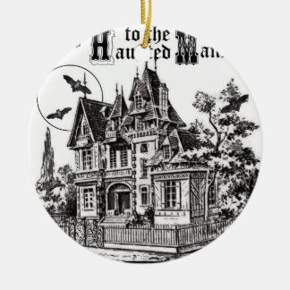 modern vintage haunted mansion ceramic ornament
