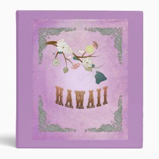 Modern Vintage Hawaii State Map- Grape Purple 3 Ring Binder