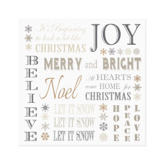 modern vintage holiday phrases gallery wrap canvas