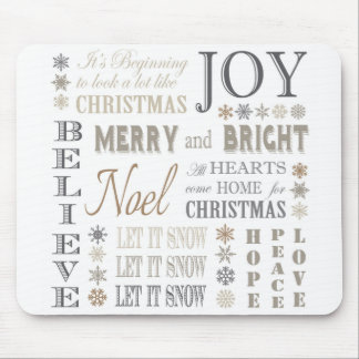 modern vintage holiday phrases mouse pad