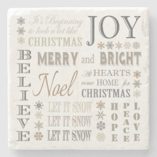 modern vintage holiday phrases stone coaster