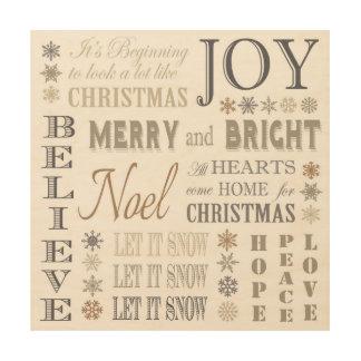 modern vintage holiday phrases wood print