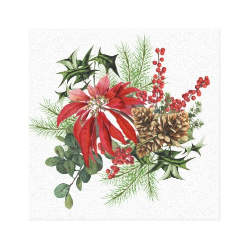 modern vintage holiday poinsettia floral  print