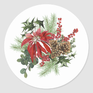 modern vintage holiday poinsettia floral classic round sticker