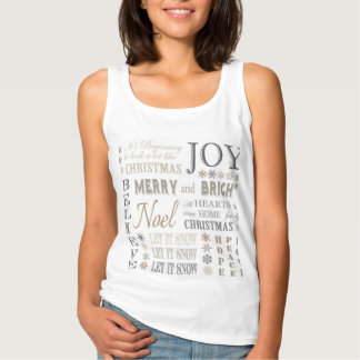 modern vintage holiday typography and snowflakes tank top