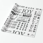 modern vintage holiday words gift wrap