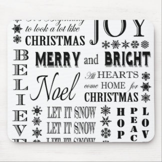 modern vintage holiday words mouse pad