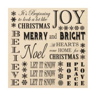 modern vintage holiday words wood print