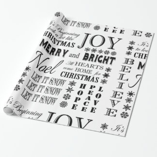 modern vintage holiday words wrapping paper