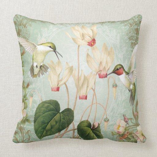 Modern Vintage Pillows : Modern Vintage Hummingbird pillow Zazzle