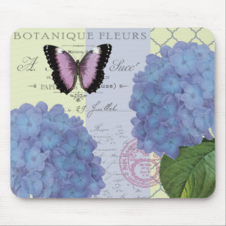 modern vintage hydrangea and butterfly mouse pad