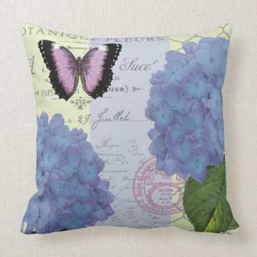 modern vintage hydrangea and butterfly throw pillows