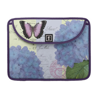 modern vintage hydrangea and butterfly sleeve for MacBook pro