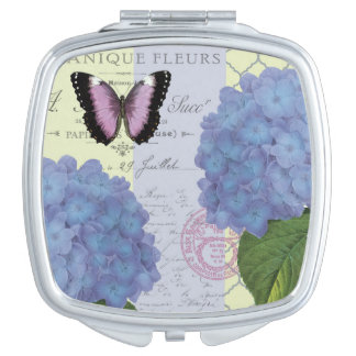 modern vintage hydrangea and butterfly vanity mirrors