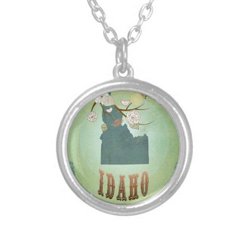 Modern Vintage Idaho State Map – Sage Green Round Pendant Necklace