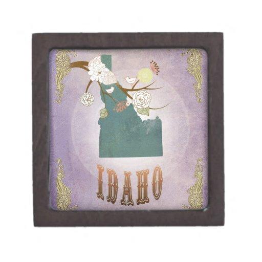 Modern Vintage Idaho State Map- Sweet Lavender Premium Keepsake Box