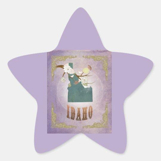 Modern Vintage Idaho State Map- Sweet Lavender Star Sticker