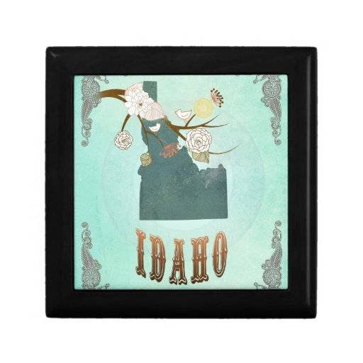 Modern Vintage Idaho State Map – Turquoise Blue Jewelry Boxes