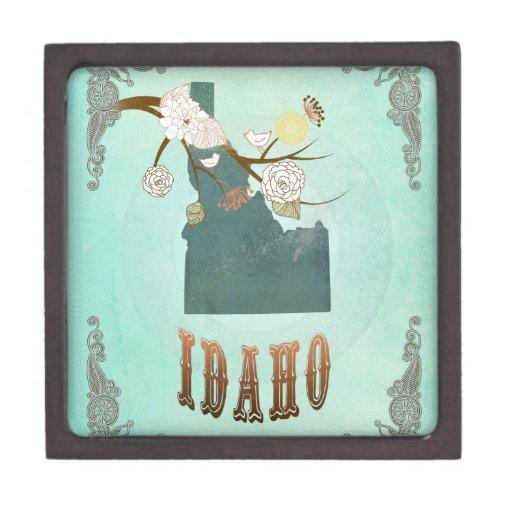 Modern Vintage Idaho State Map – Turquoise Blue Premium Jewelry Box