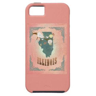 Modern Vintage Illinois State Map- Pastel Peach iPhone 5 Cases
