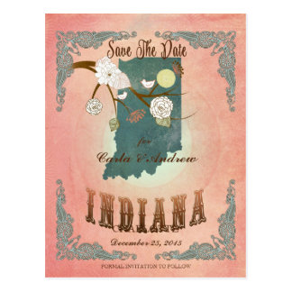 Modern Vintage Indiana State Map- Pastel Peach Post Cards