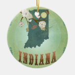 Modern Vintage Indiana State Map – Sage Green Double-Sided Ceramic Round Christmas Ornament