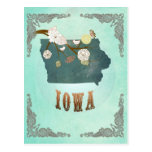 Modern Vintage Iowa State Map – Turquoise Blue Postcard