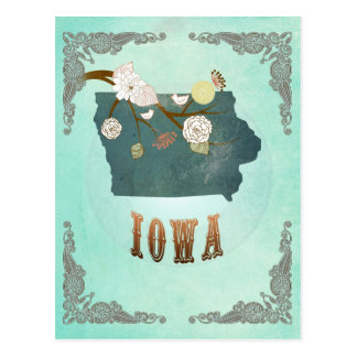 Modern Vintage Iowa State Map – Turquoise Blue Postcards