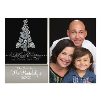 Modern Vintage Jeweled Merry Christmas Tree Card