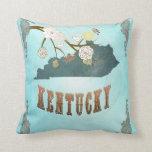 Modern Vintage Kentucky State Map – Aqua Blue Pillows
