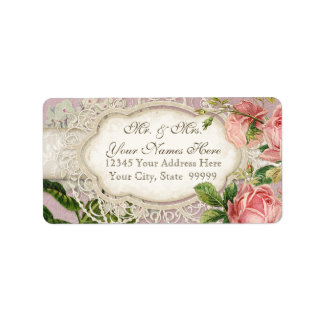 Modern Vintage Lace Tea Stained Hydrangea n Roses Address Label
