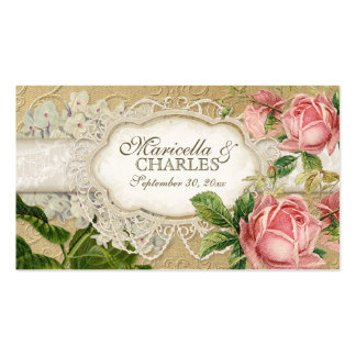 Modern Vintage Lace Tea Stained Hydrangea n Roses Business Card Template